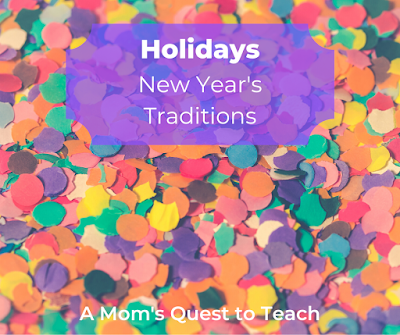 confetti background with Holidays: New Year's Traditions