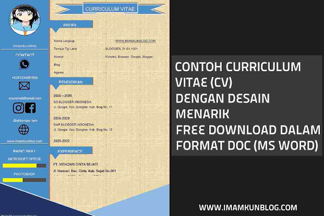 Contoh Curriculum Vitae Menarik Doc Ms Word [Free Download]