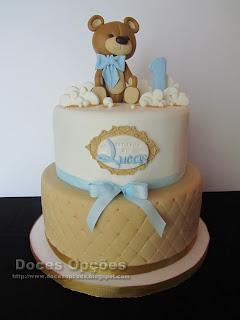 vintage ursinho bolo aniversário baptismo