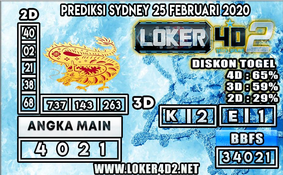 PREDIKSI TOGEL SYDNEY LOKER4D2 25 FEBRUARI 2020