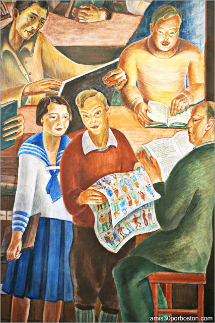 "Mural ""Library"" de Bernard Zakheim en la Torre Coit de San Francisco"