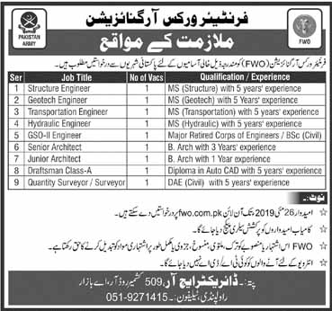 Frontier Works Organization 12 May 2019 Jobs