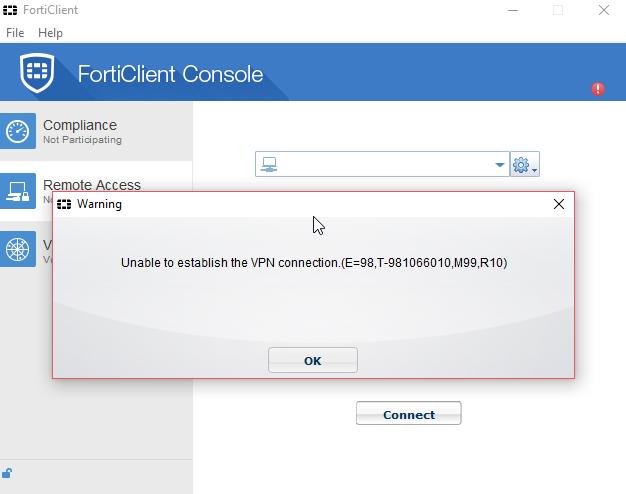 ITFinities Com: FortiClient VPN ไม่สามารถเชื่อมต่อได้ เมื่อใช้งาน