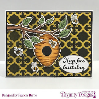 Stamp/Die Duos: Bee-lieve  Custom Dies: A2 Landscape Card Base with Layer, Matting Rectangle, Circles, Ovals  Embossing Folder/Die Duo: Quatrefoil  Paper Collection: Birthday Brights