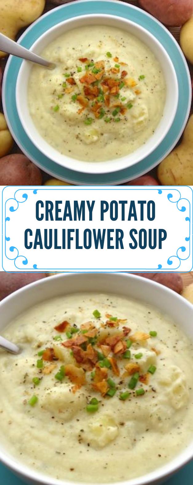 CREAMY POTATO CAULIFLOWER SOUP (VEGAN) #dinner #healthyrecipe #potato