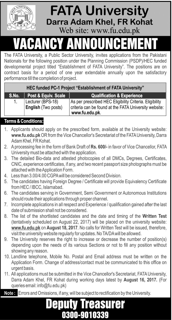 Fata University Darra Adam Khel Jobs Augest 2017