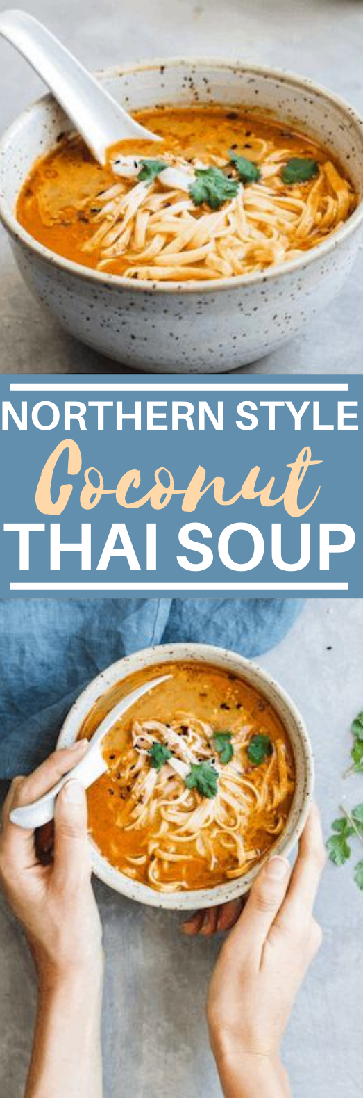Northern-Style Vegan Thai Coconut Soup #vegan #dinner #soup #comfortfood #meatless