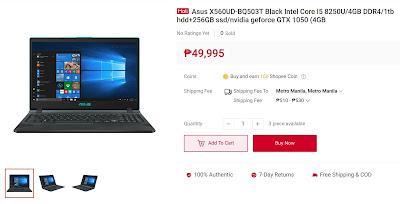 Asus X560UD-BQ503T Black Intel Core I5