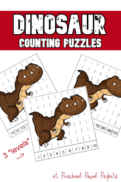 Dinosaur Number Puzzles - preschool activity