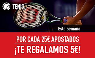 sportium promocion Tenis cada 25€ apostados te damos 5€ 5-11 marzo