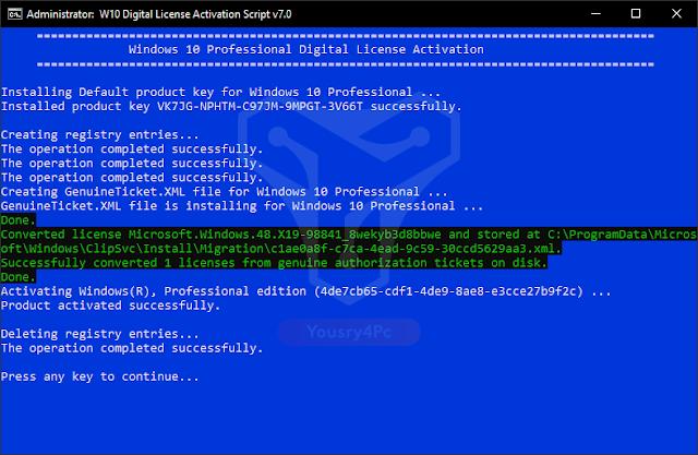 تحميل W10 Digital License Activation Script لتفعيل ويندوز 10 بسيريال أصلي مدي الحياة