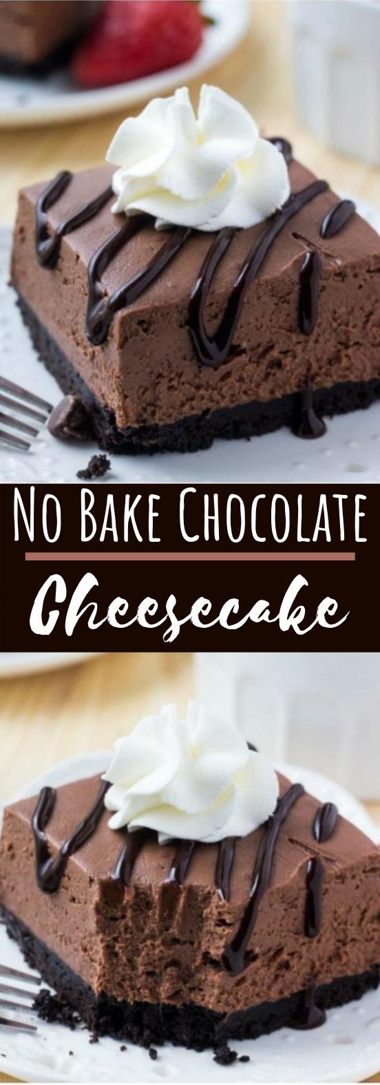 No Bake Chocolate Cheesecake Bars #chocolate #desserts