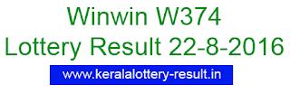 Winwin w374, Lottery result, Win Win W 374, Kerala 22-8-2016 winwin lottery, W 374 winwin result today, 22/8/2016 kerala Winiwn W374 lottery, 22-8-2016 Kerala lottery result Winwin w 374