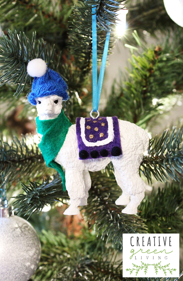 once the glue and paint are all set use pliers to hold an eye screw and screw it into the back of the figurine thread some ribbon through the eye and hang - Llama Christmas Decoration
