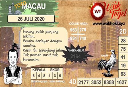 Prediksi Wak Togel Toto Macau Minggu 26 Juli 2020