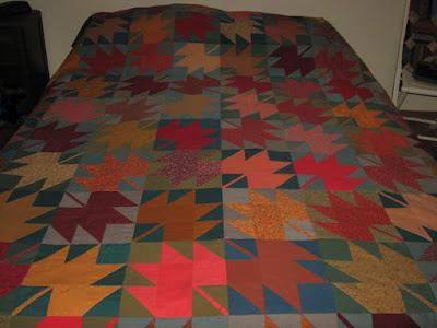 maple leaf quilt blocks in autumn colors