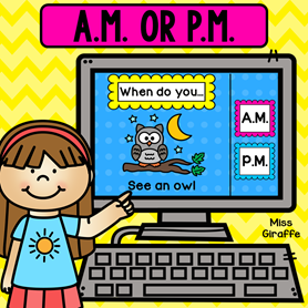 Telling time activity of whether an activity is done in the A.M. or P.M. -  a fun way to practice this concept of time for young learners