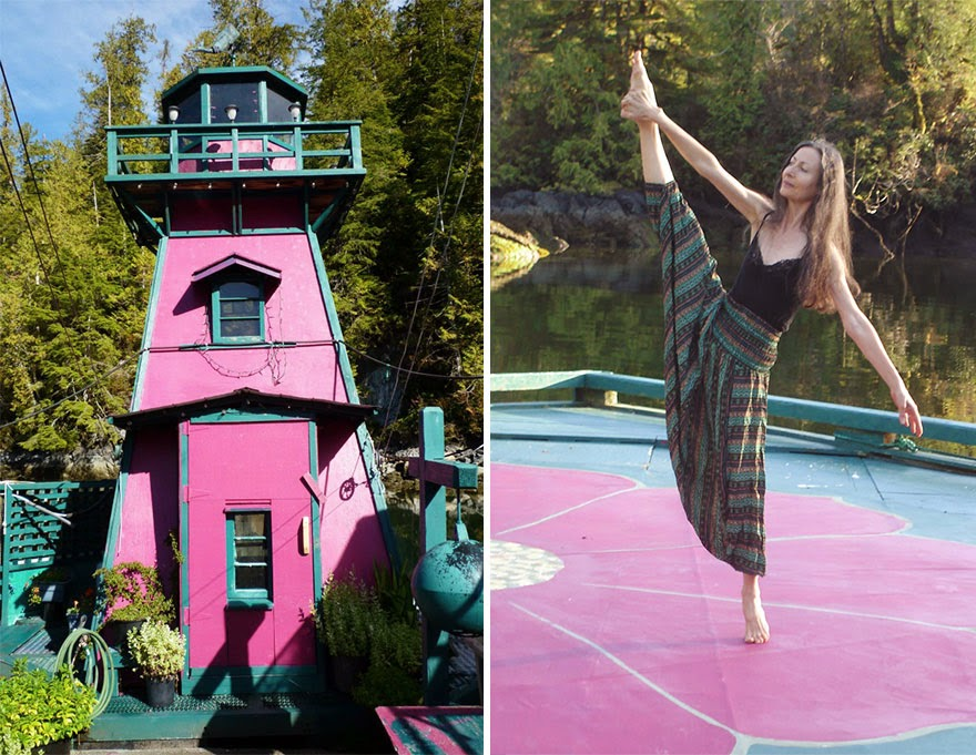 Catherine Adams, 59, is a musician, dancer, writer and painter - Couple Spends 20 Years Building A Self-Sustaining, Floating Island To Live Off The Grid