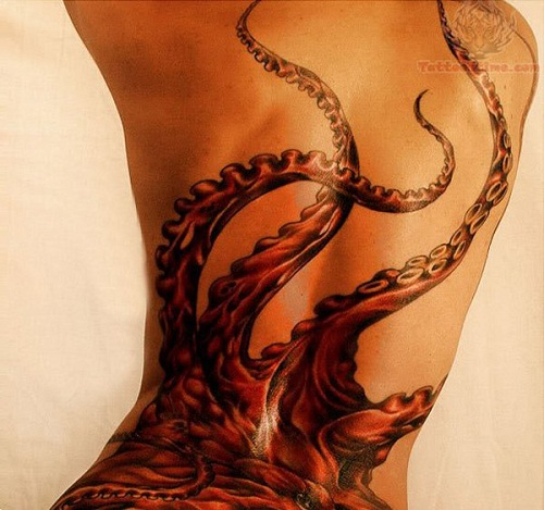 Colorful Octopus Tattoo For Girls