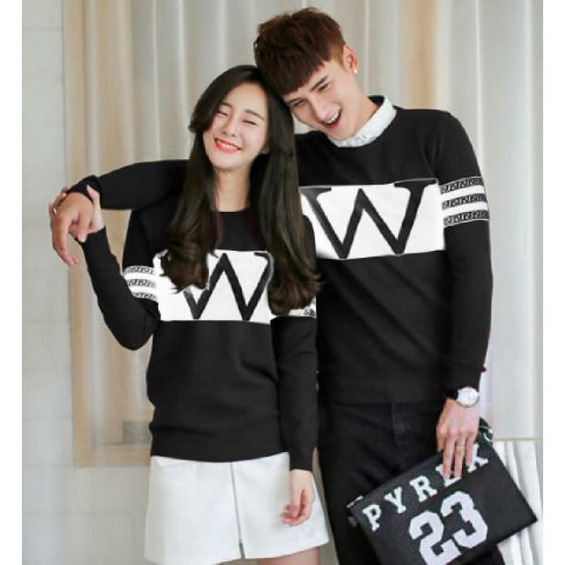 Jual Online Sweater Wonder Neo Black White Couple Murah di Surabaya Bahan Babytery Terbaru