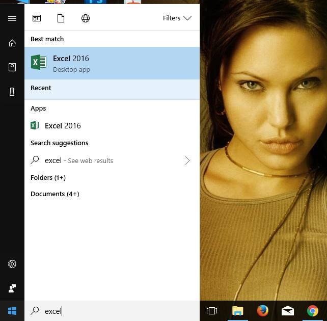 Gambar membuka Excel 2016 di Windows 2010