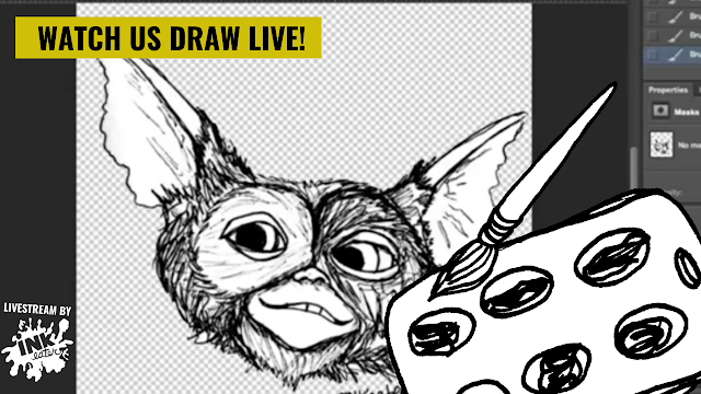 Gizmo from Gremlins  - Cleaning Up a Drawing in Photoshop