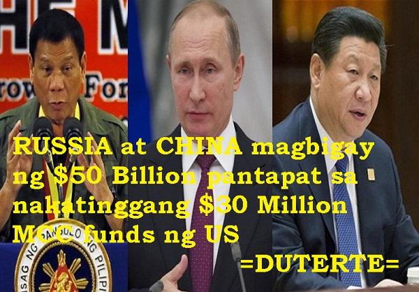 $430 MILLION NG MCC KAYANG IBIGAY NG CHINA AT RUSSIA AYON KAY DUTERTE