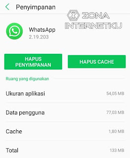 Menghapus Data Aplikasi WhatsApp