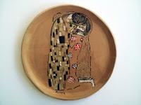 grande piatto ceramica motivo klimt il bacio fatto e decorato a mano
