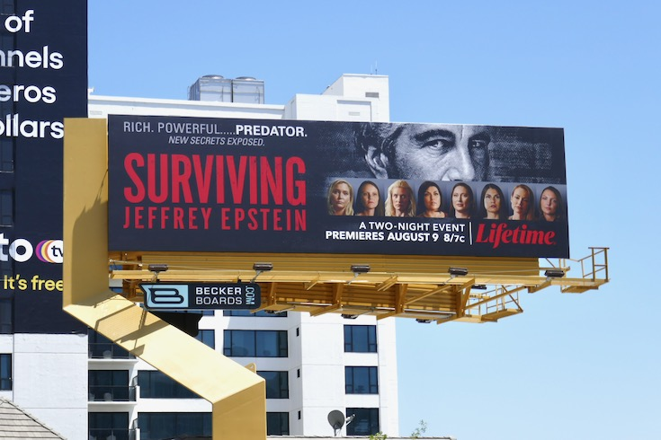Surviving Jeffrey Epstein series launch billboard