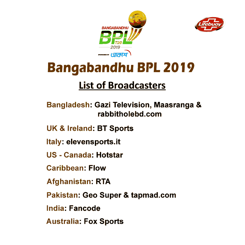 BPL 2019 Broadcasters List