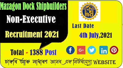 Mazagon Dock Shipbuilders Limited (MDL) Recruitment for 1388 Non-Executive Positions