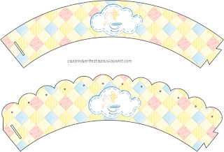 Baby Girl Baptism: Free Printable Cupcakes Wrappers and Toppers.