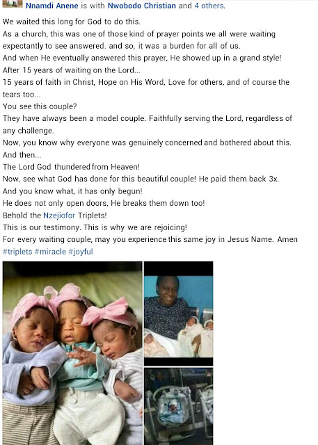 Nigerian woman gives birth to triplets after 15 years of waiting (Photos)