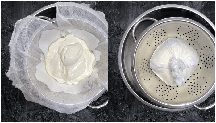 shrikhand recipe with step-by-step pictures of straining yogurt