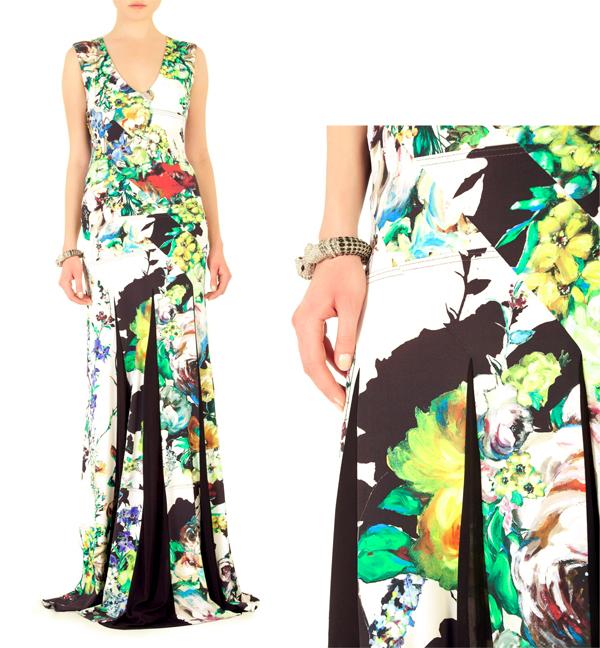 floral dress, artistic dress, art fashion, roberto cavalli, spring patterns, floral patterns