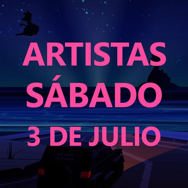 Dibujo de un coche iluminando una playa de noche. La frase Sábado 3 de Julio se puede leer en grande tapando el dibujo