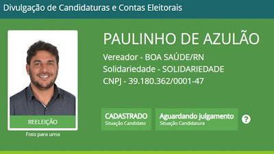 Paulinho de Azulão agora é candidato a vereador