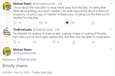 Michael Rosen Tweet about picking ears and noses