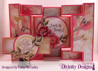 Divinity Designs Stamp/Die Duos: Hello Friend, Paper Collection: Beautiful Blooms, Custom Dies:  Double Display Card, Double Display Layers, Circles, Scalloped Circles, Belly Band