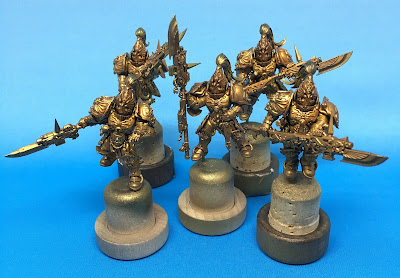 Adeptus Custodes Squad with Halberds WIP Shaded