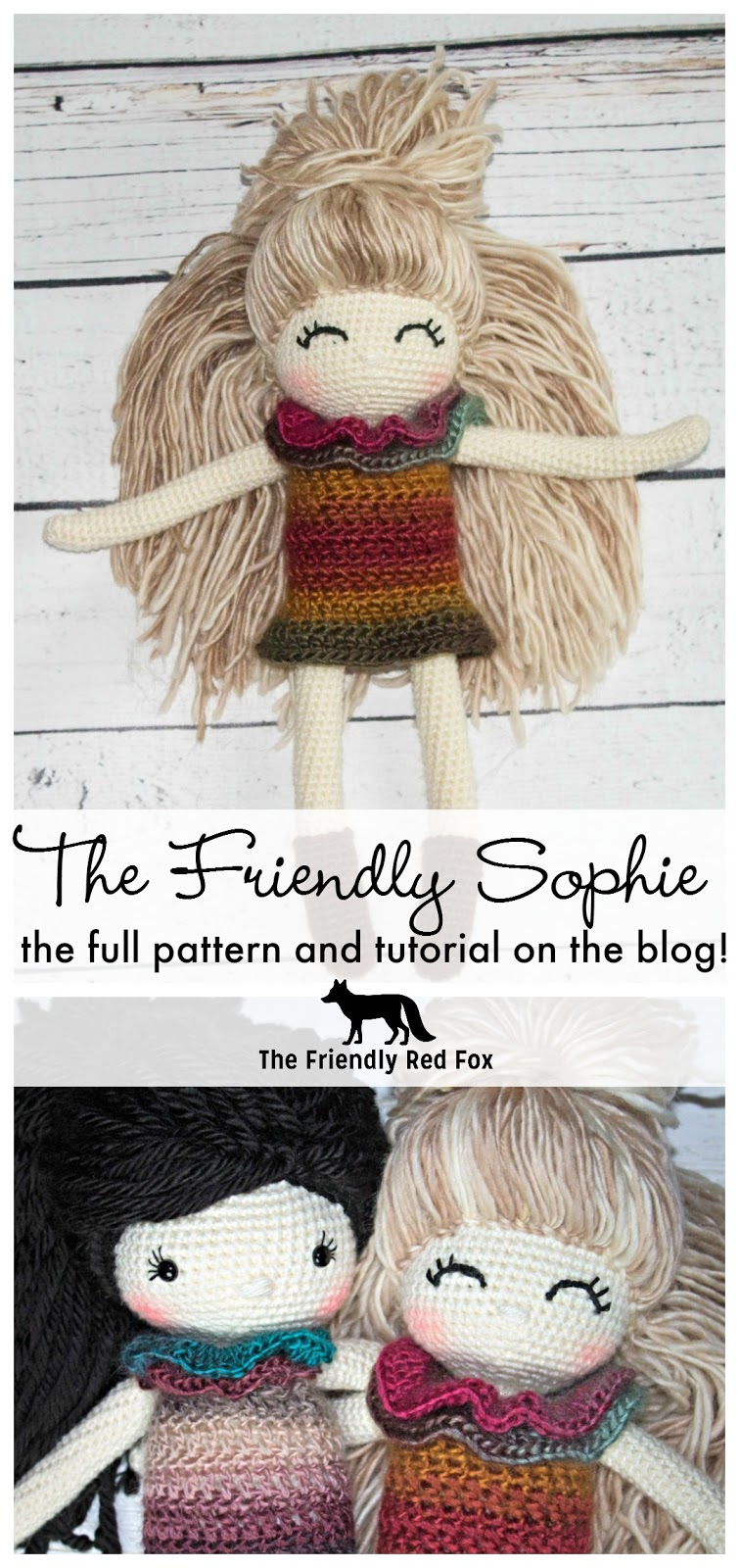 Free Crochet Doll Pattern- The Friendly Sophie - thefriendlyredfox.com