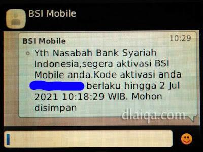 SMS kode aktivasi BSI Mobile