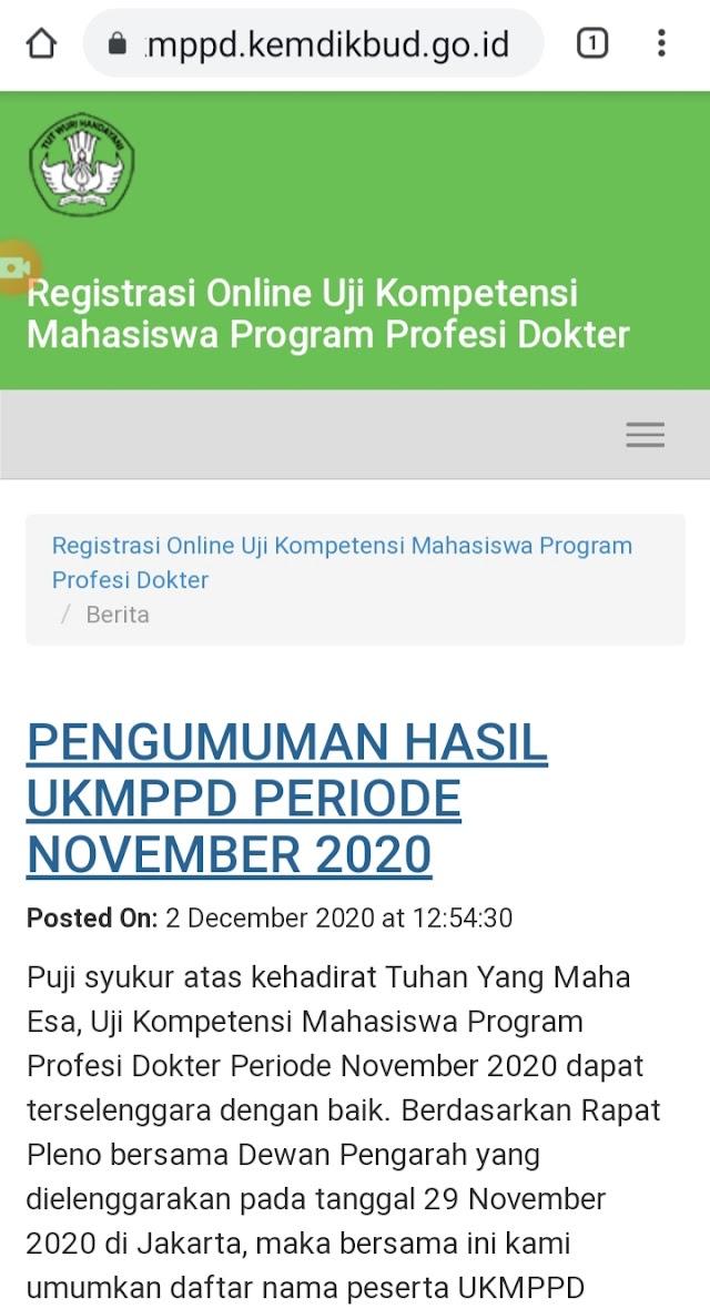 Pengumuman Hasil UKMPPD November 2020