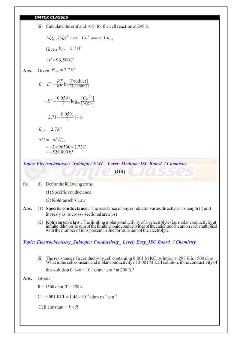 XII_ISC Board_Official Chemistry P-1 Solutions 01.03.2019