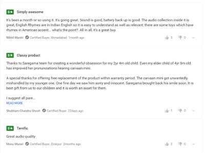 Saregama Carvaan Mini Kids Review from Flipkart Customer