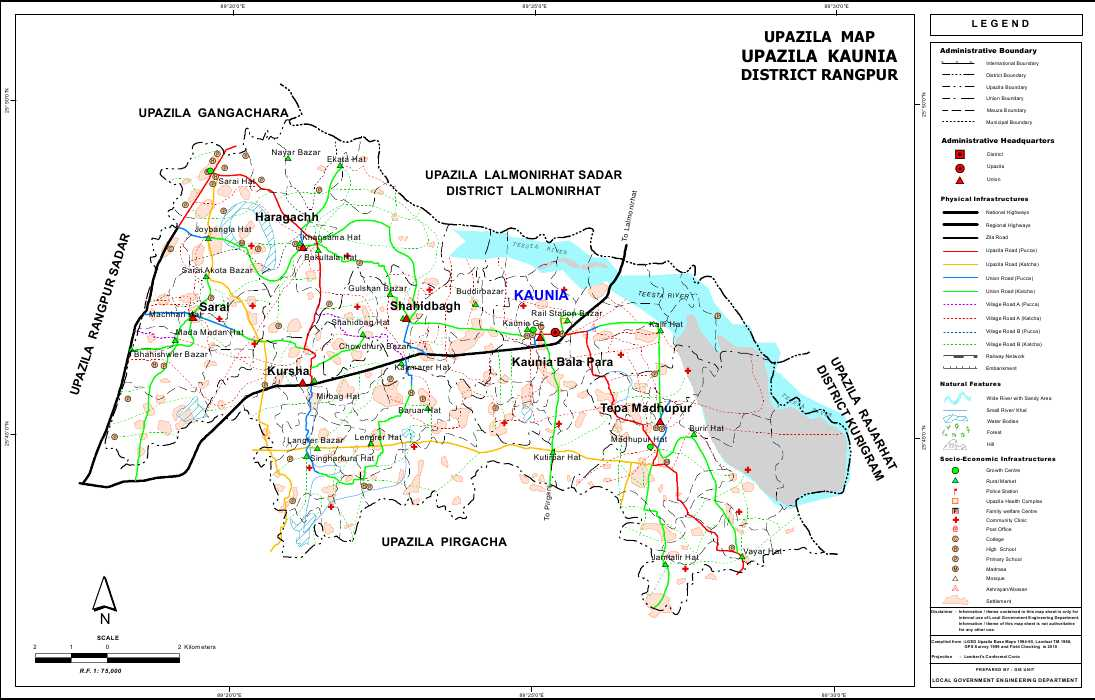 Kaunia Upazila Map Rangpur District Bangladesh