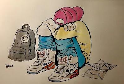 Adolescent triste, dessin d'Alexis Bacci