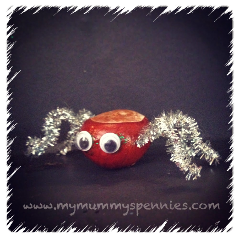 Halloween craft - spider - conker