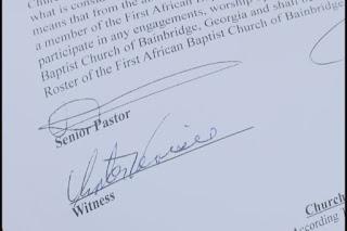 Scrisoarea care declară că dna. King nu a arătat susţinerea sa faţă de biserică - poză preluată de pe http://www.kctv5.com/